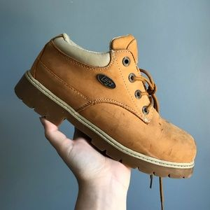 LIGHT BROWN LUGS WORKER LACE UP BOOTS